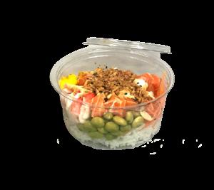 foto van een poké bowl met zalm